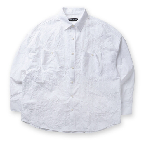 CB CREASE POCKET OVER SHIRTS (WHITE)