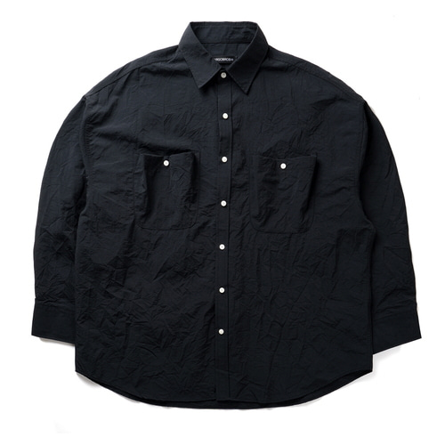 CB CREASE POCKET OVER SHIRTS (BLACK)
